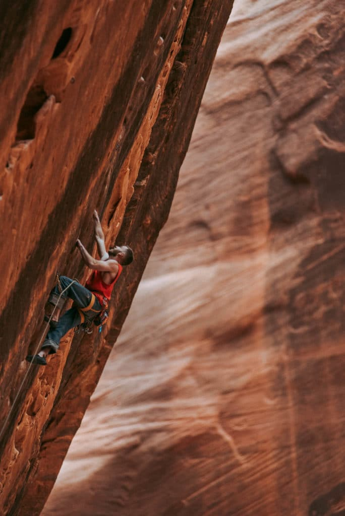 Sport Climbing at Namaste Wall in Kolob Canyon Zion national park utah photographed by the foxes photography adventure wedding photographers and outdoor lifestyle photography