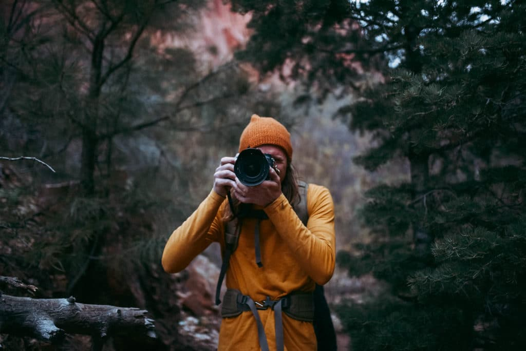 Brandon Exploring and hiking in Kolob Canyon Zion national park utah photographed by the foxes photography adventure wedding photographers and outdoor lifestyle photography
