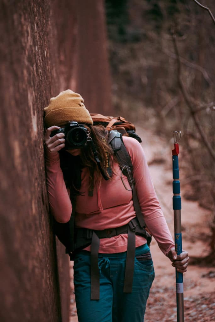 gabi Exploring and hiking in Kolob Canyon Zion national park utah photographed by the foxes photography adventure wedding photographers and outdoor lifestyle photography