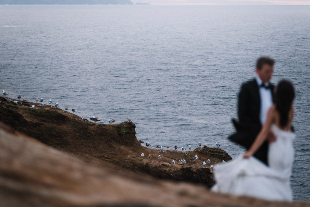 seagulls on cape kiwanda with blurry bride and groom in foreground