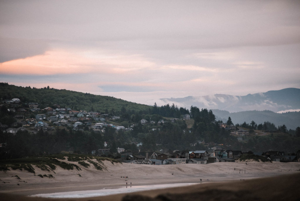 view of pacific city from cape kiwanda