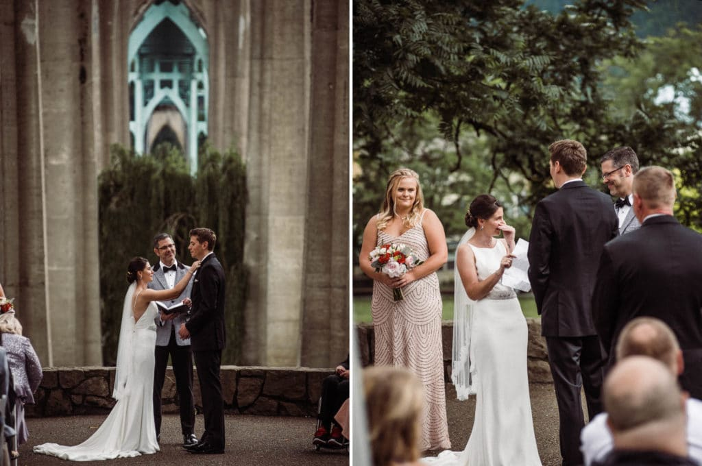 Cathedral Park Wedding Photography in Portland, Oregon. Photos by PNW outdoor wedding photographers, The Foxes Photography.
