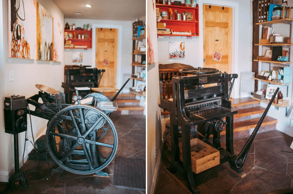 letterpress and vintage paper cutter in The Corner Studios, Lyons, Colorado. Petite Press.