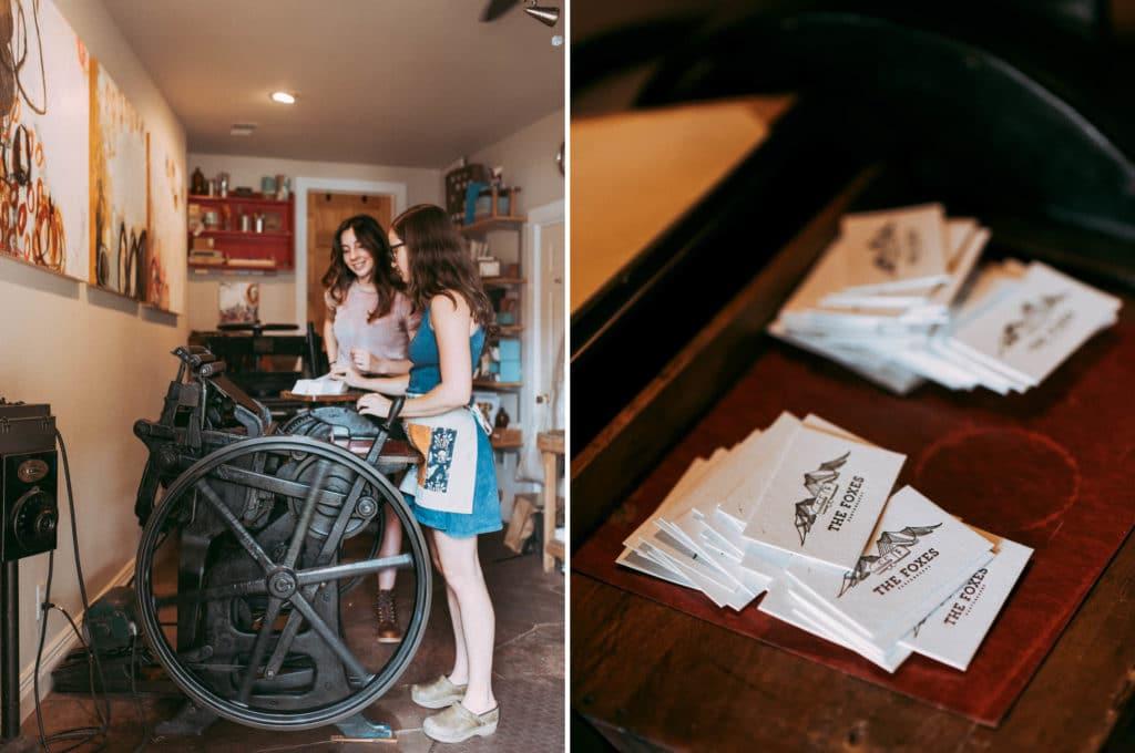 Vintage Petite Press Letterpress machine at The Corner Studios in Lyons, Colorado.