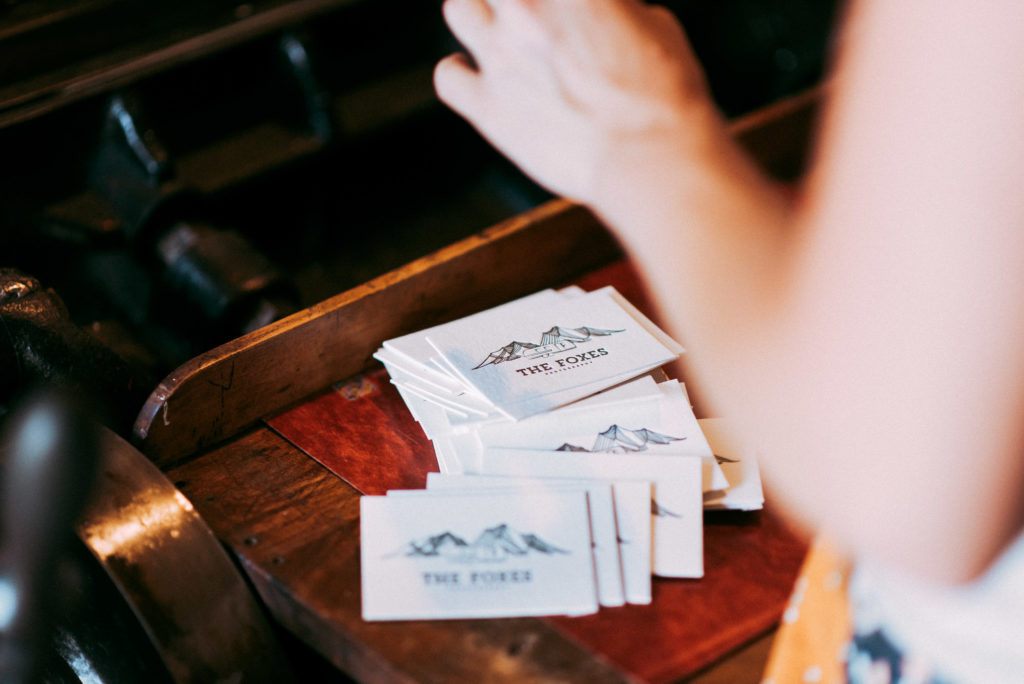 the foxes photography letterpress business cards, made by sarah ellen of Petite Press.