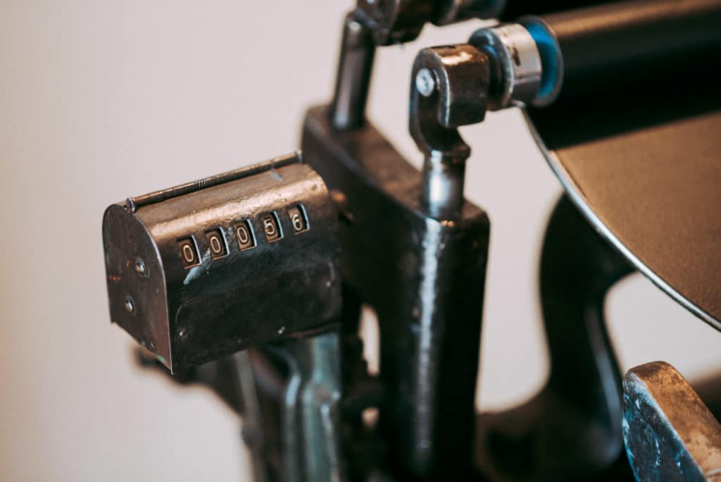 Vintage Petite Press Letterpress machine at The Corner Studios in Lyons, Colorado.