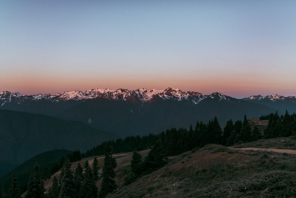 Sunrise over the Olympic Mountains from Hurricane Ridge, Olympic National Park.