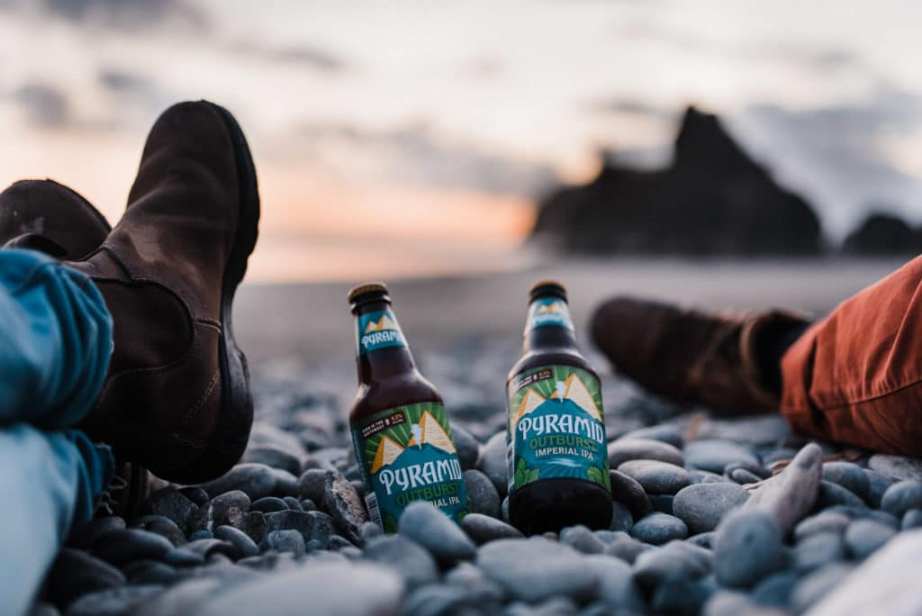ruby beach elopement scouting sunset olympic national park beer