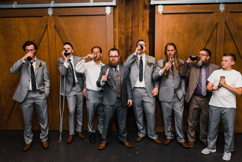 Drinking horns at wedding seattle sodo
