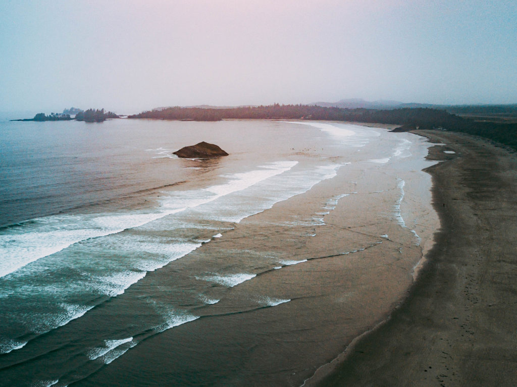 Drone aerial picture of Pacific coast at chesterman beach in tofino, bc