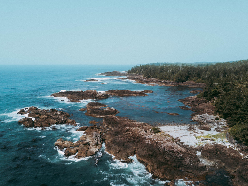 The Wild Pacific Trail in Ucluelet, BC from an aerial view