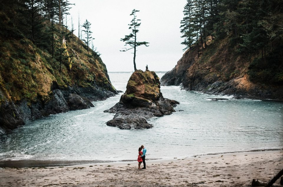Cape Disappointment Engagement Adventure Session at Dead Man's Cove