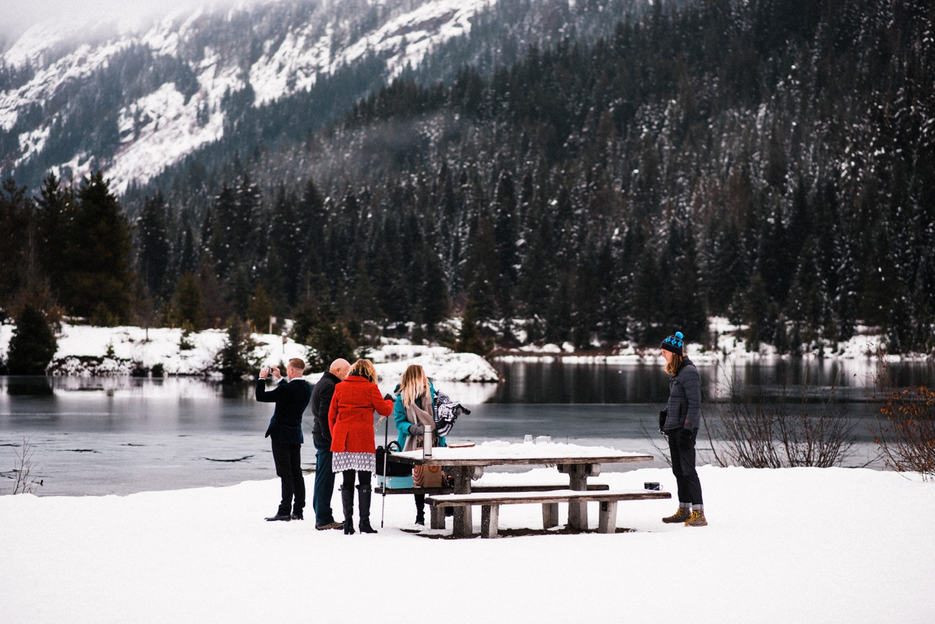 Gold Creek Pond Elopement Snowy Winter