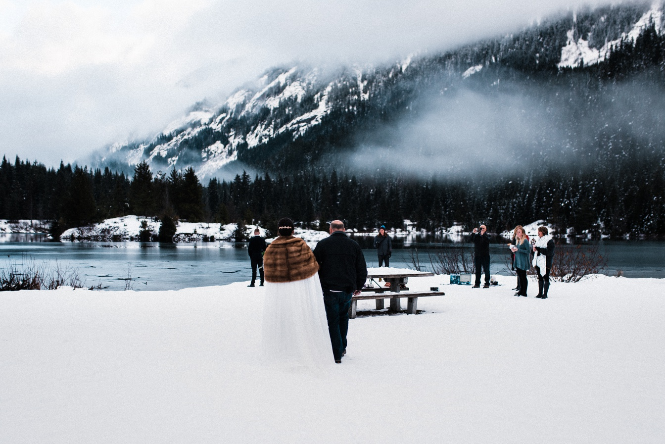 Gold Greek Pond Elopement Snowy Winter