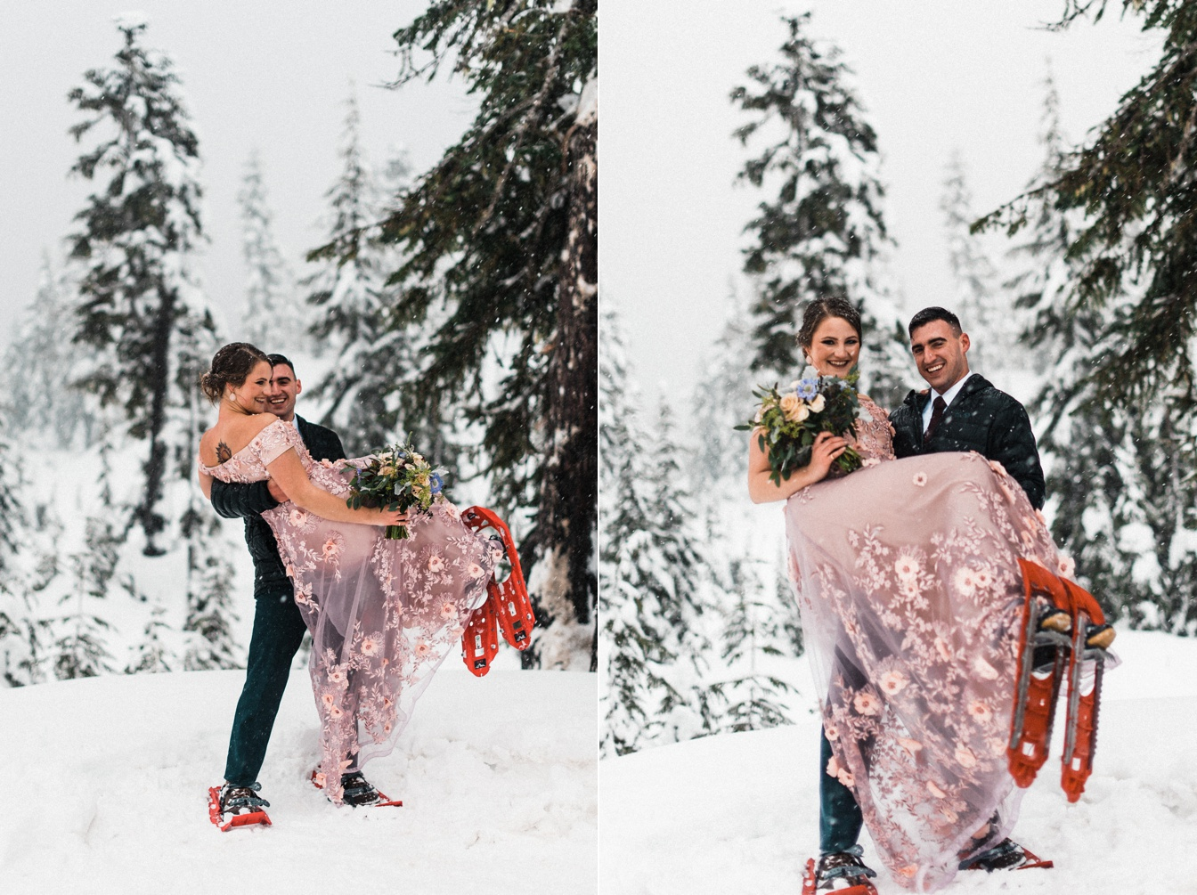 Winter Elopement Snowshoe Hike in the North Cascades