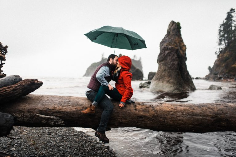 Ruby Beach Adventure Engagement Stormy Seas
