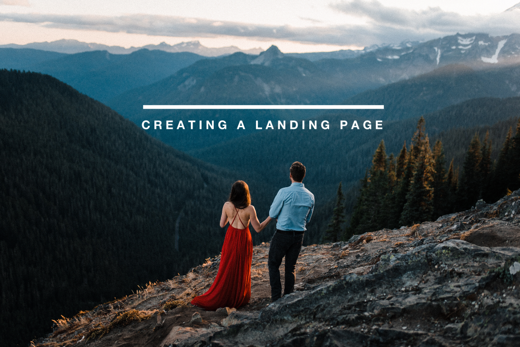 creating a landing page for adventure wedding photography