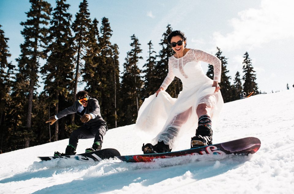 Snowboard Elopement at Washington's Crystal Mountain