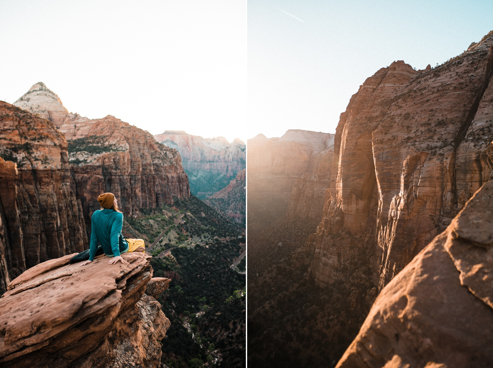 Zion Canyon Overlook Trail At Sunset The Foxes Photography