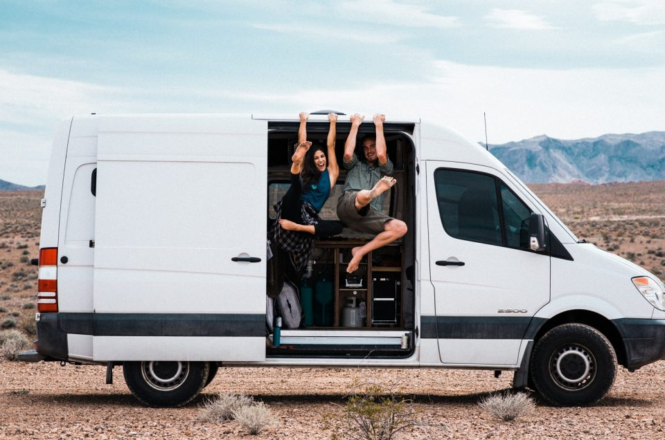 Van Life Couple Session in the Nevada Desert