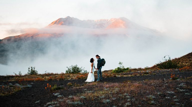 Mount st helens elopement. Adventure wedding and elopement photography. The Foxes photography captures adventure weddings and elopements in Washington, Oregon, California, Arizona, Utah, and Colorado. They travel to Rocky Mountain National Park, Yosemite National Park, Big Sur, Moab, Zion National Park, the Grand Canyon, Horseshoe bend, the Oregon Coast, Crater Lake, Mt Rainier National Park, Olympic National Park, the North Cascades, and beyond.
