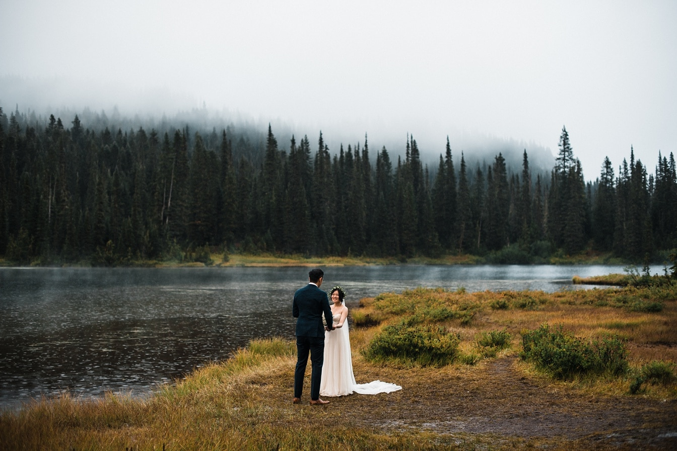 Moody PNW Elopement at Mount Rainier National Park in Washington