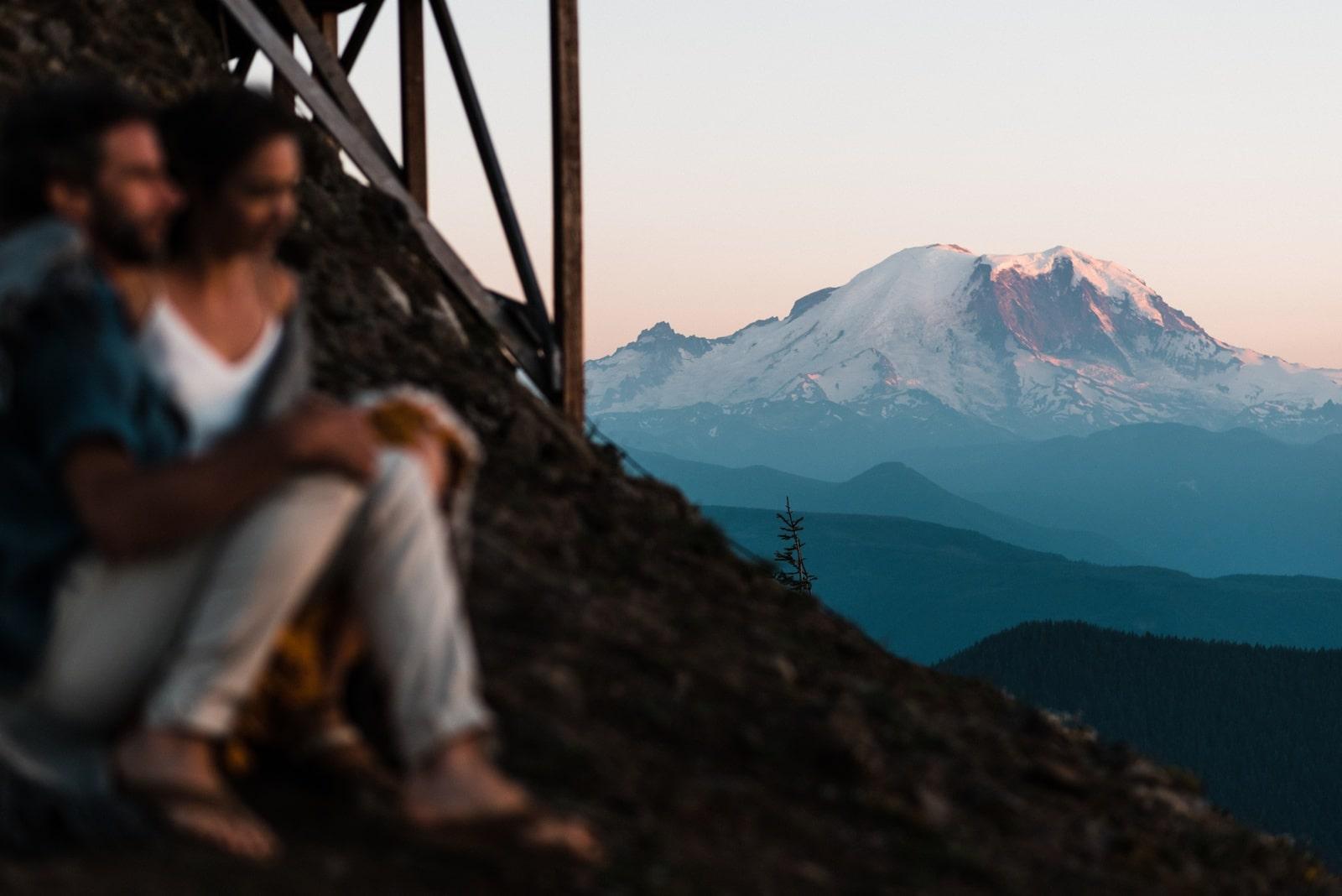 Mt Rainier Engagement Photo Shoot at Sunset Fire Lookout