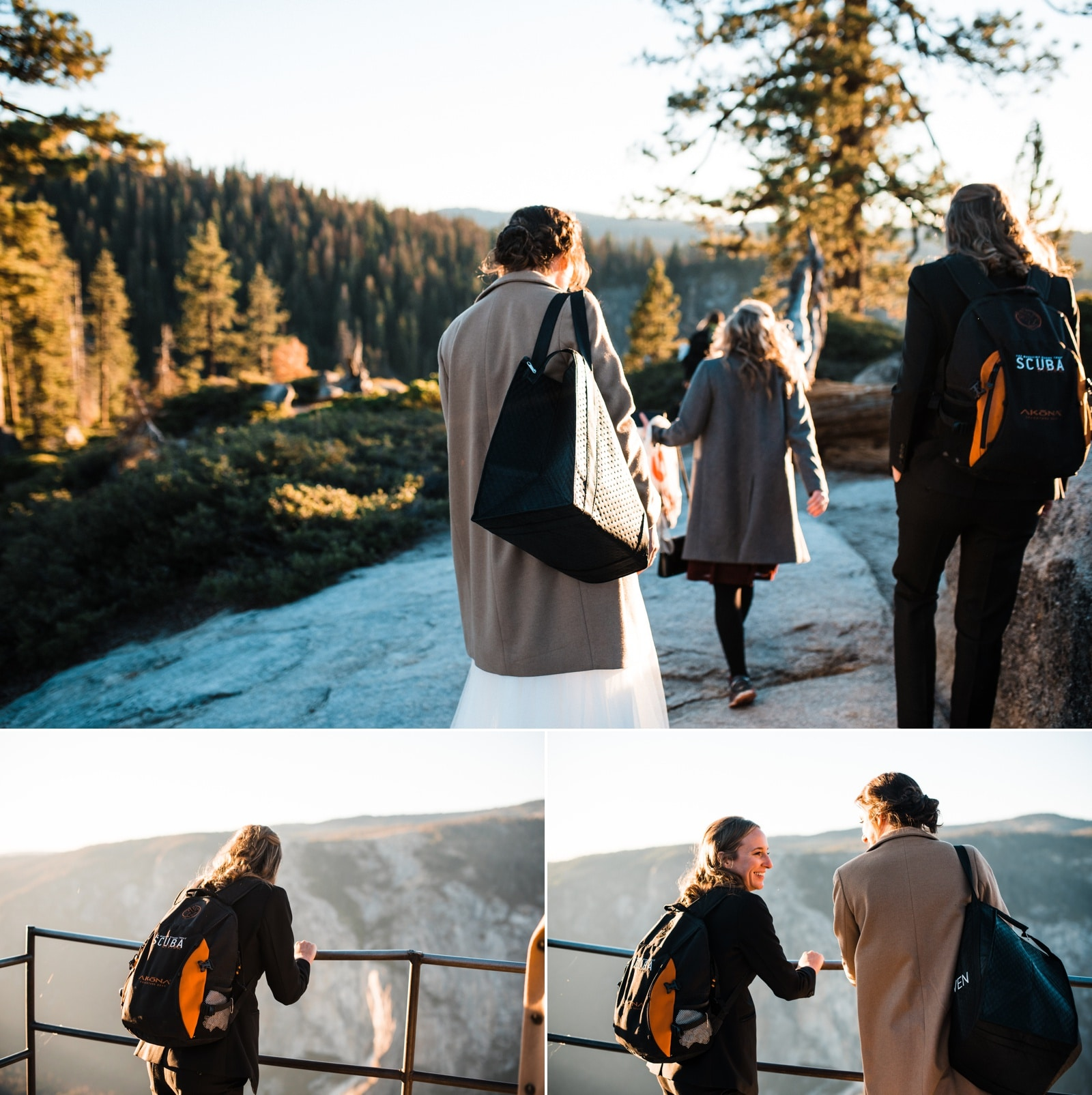 hiking out to taft point yosemite elopement