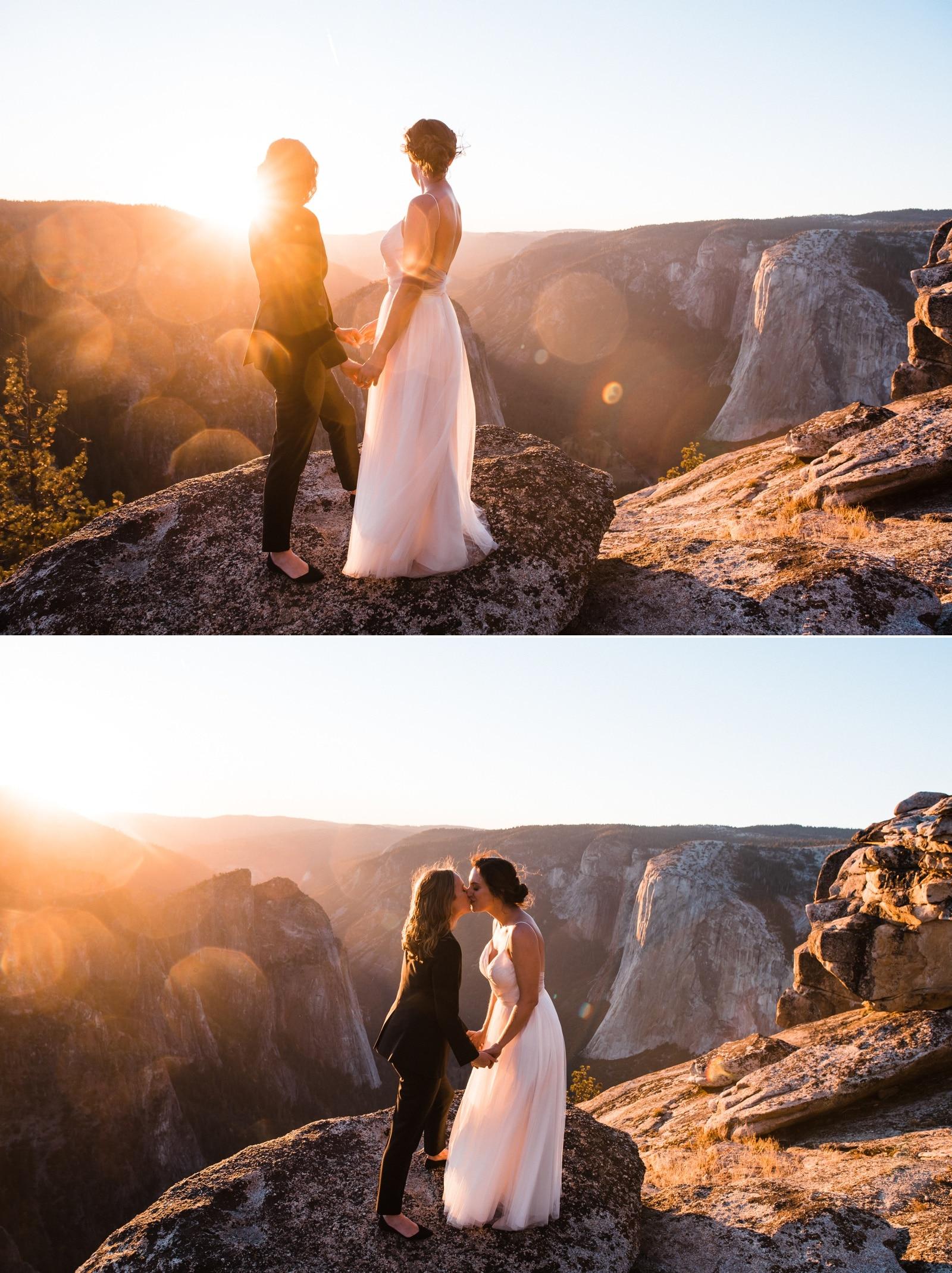 same sex yosemite elopement overlooking cliff
