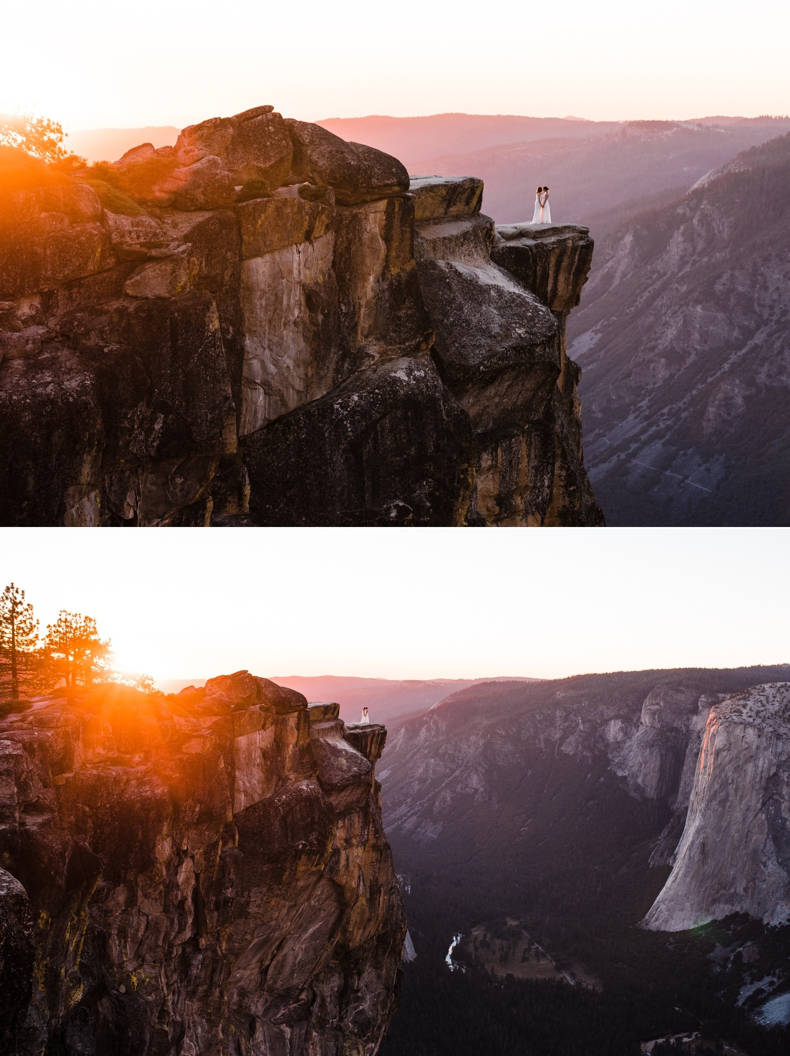 Wedding couple on Taft Point at Sunset Yosemite Elopement