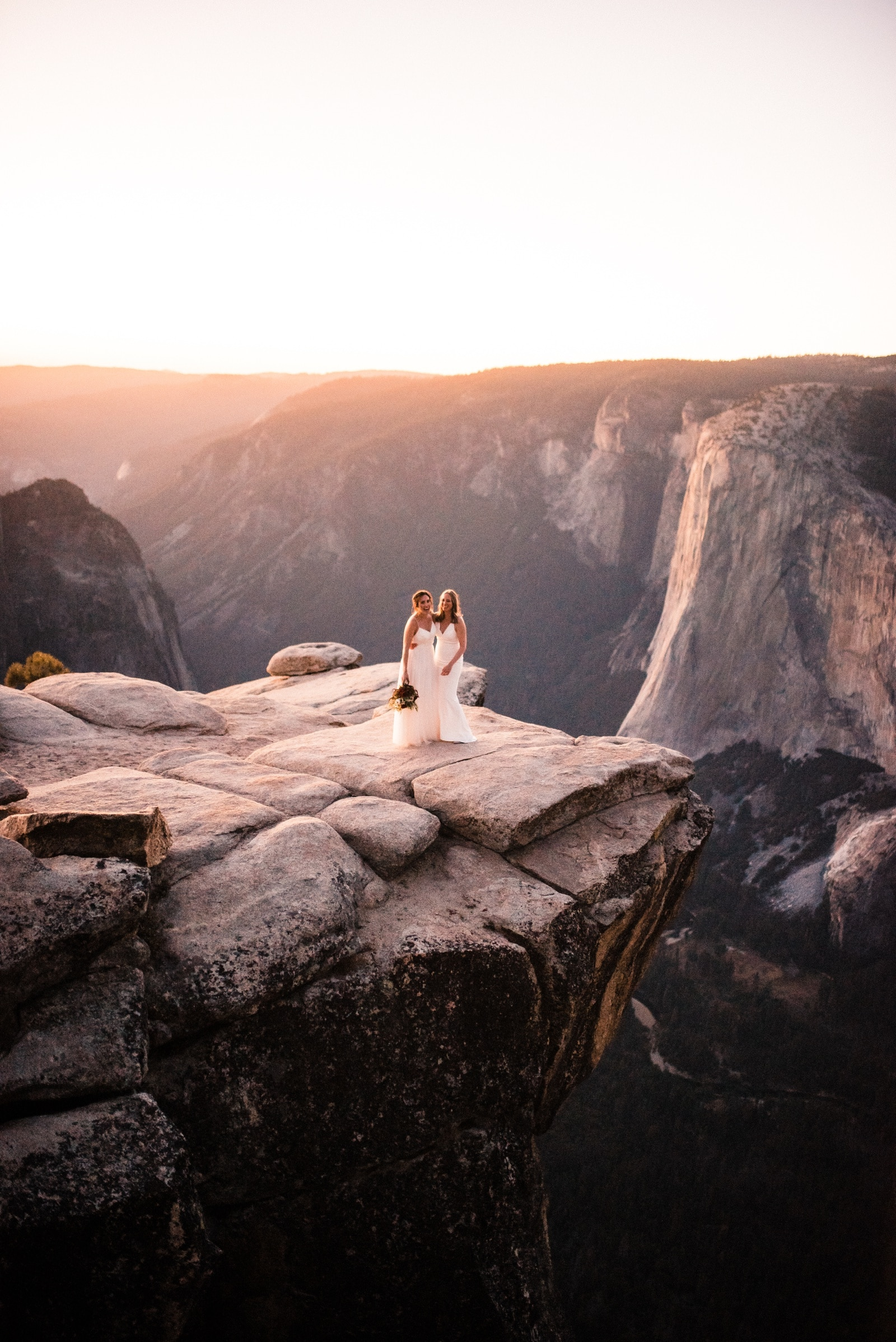 two brides on taft point yosemite national park elopement