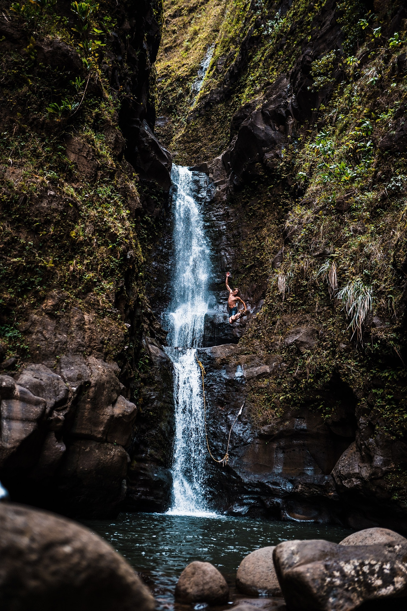 Kauai Waterfall cliff jump