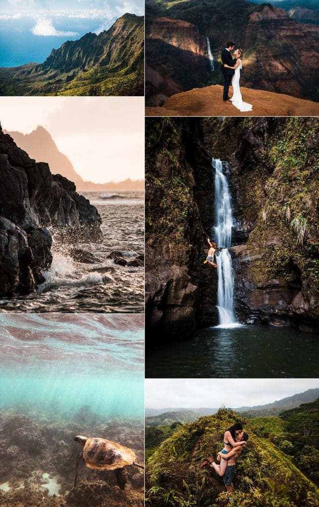 Kauai Elopement location collage