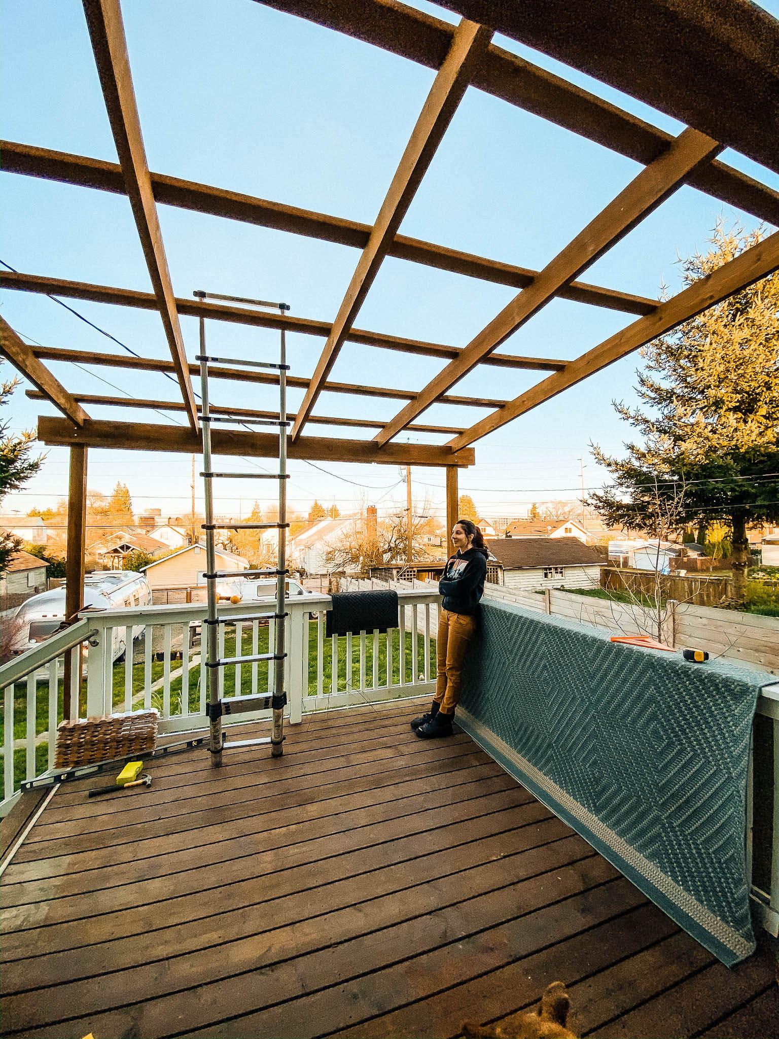 diy deck patio shelter build
