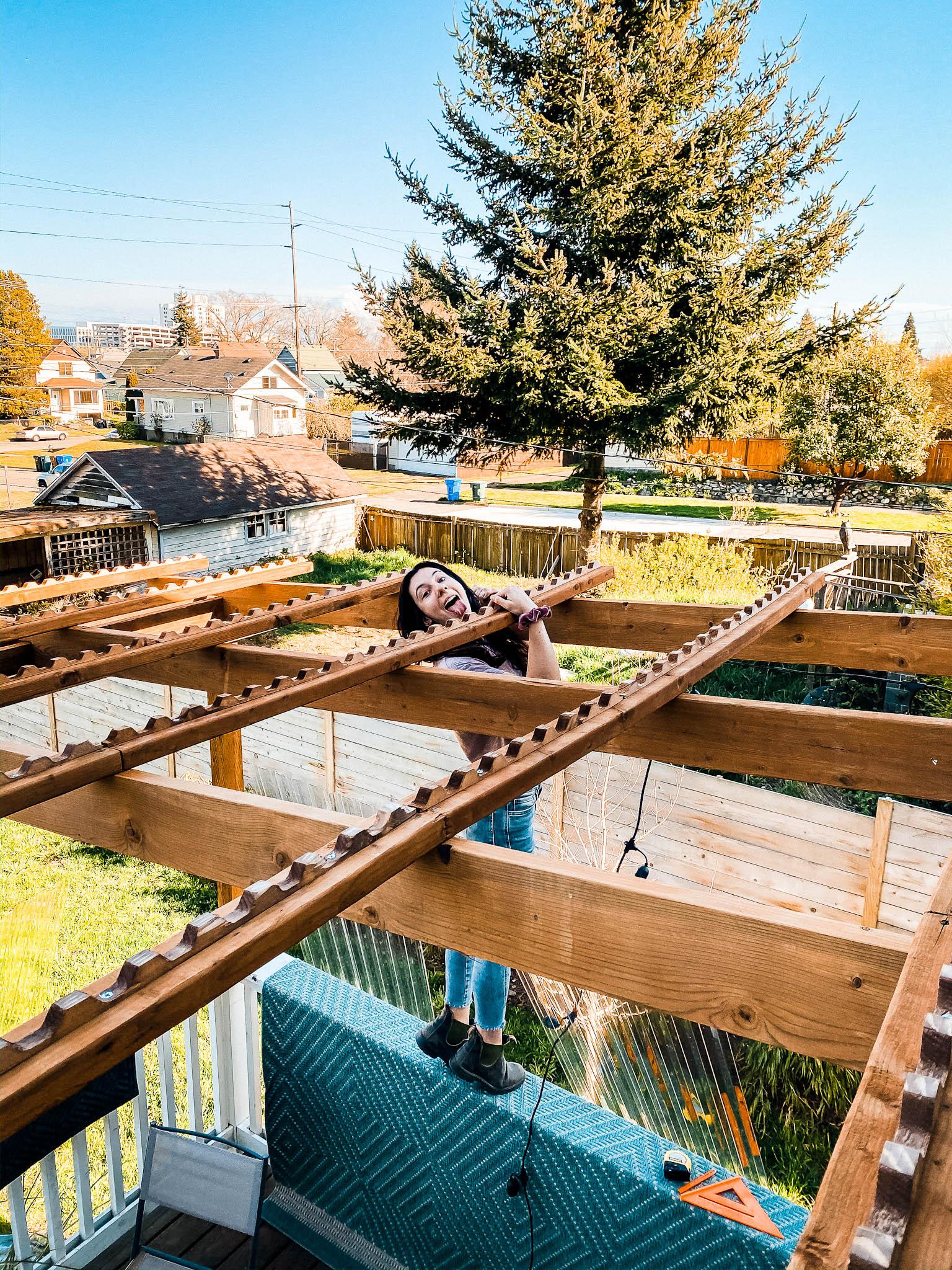 diy deck shelter back yard build