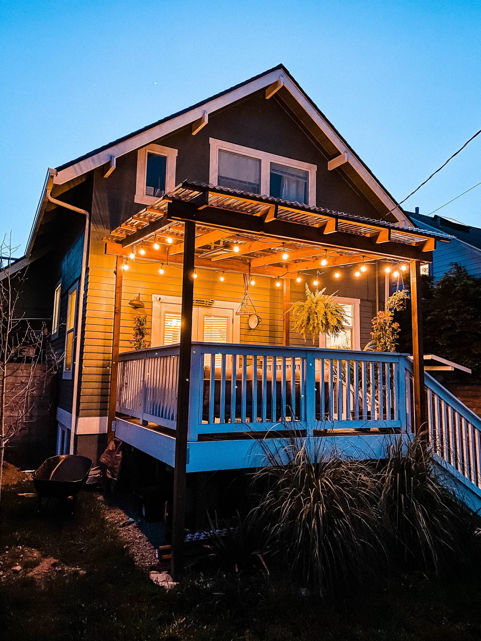 diy deck shelter string lights night clear roof