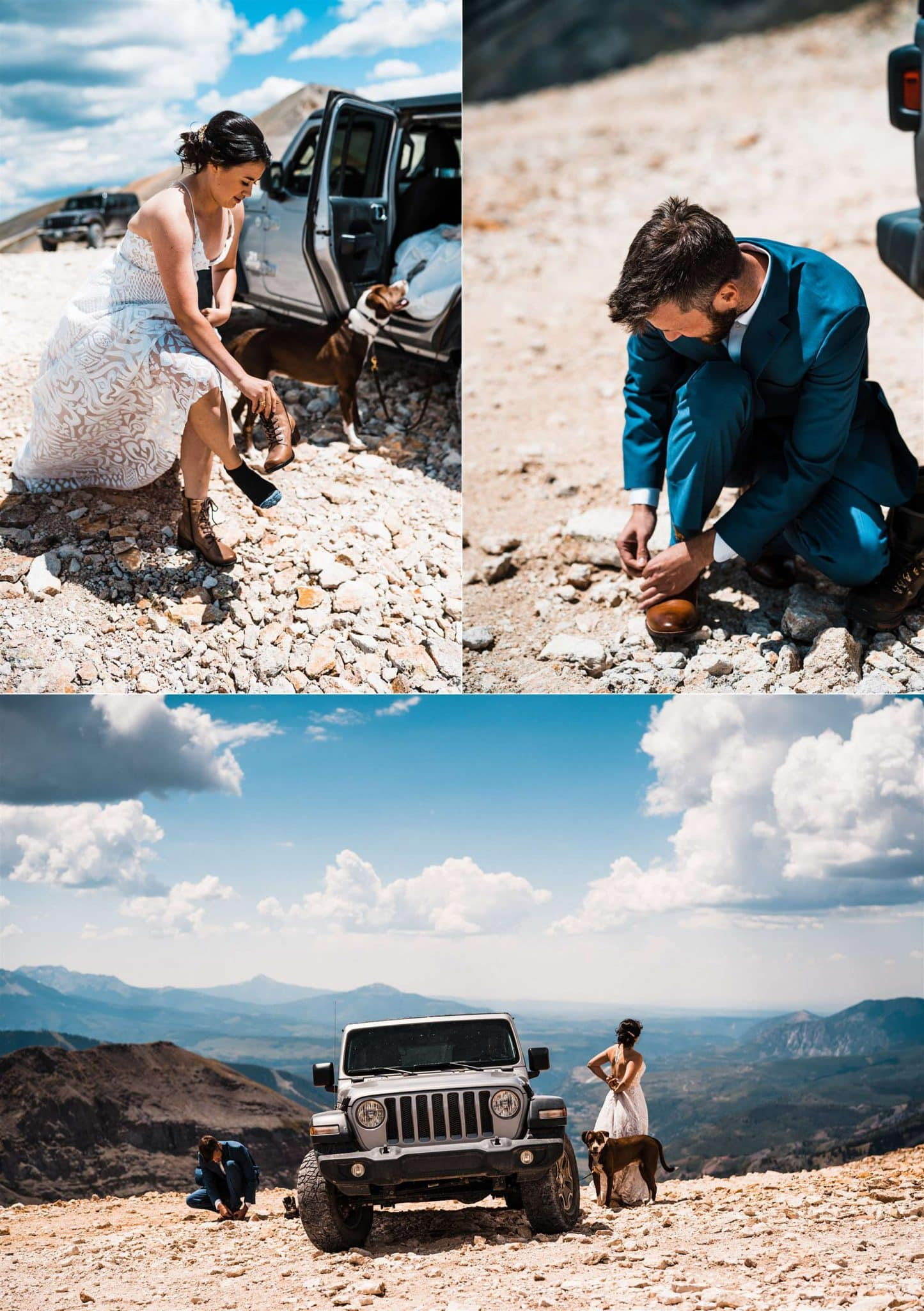 Telluride Elopement First Look by a Jeep in Colorado Mountains.jpg