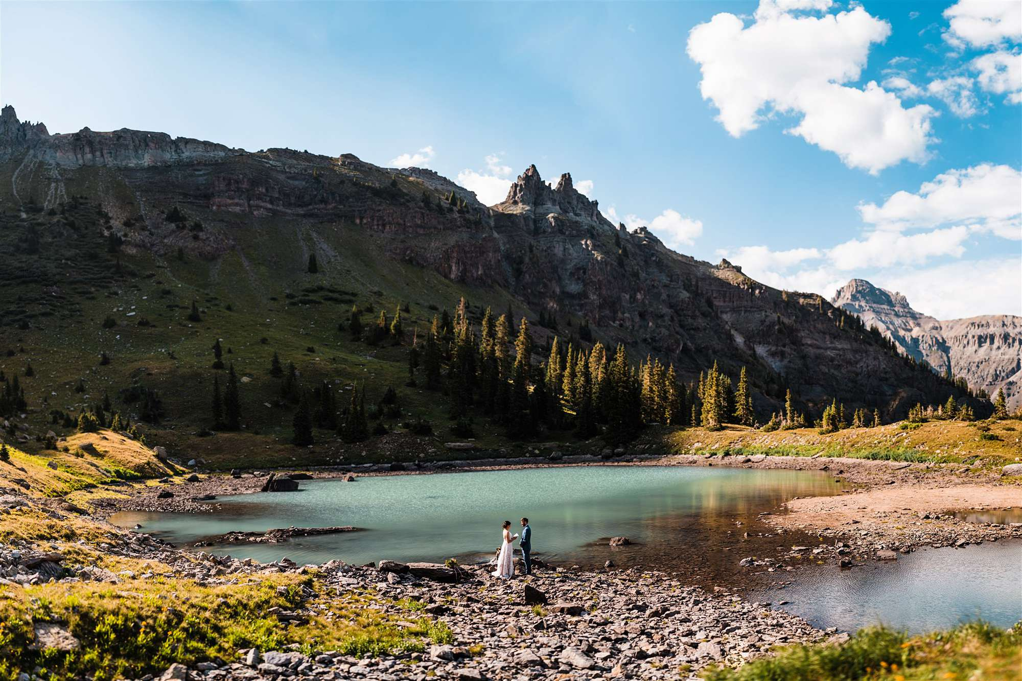 Elopement ceremony in mountains near Telluride