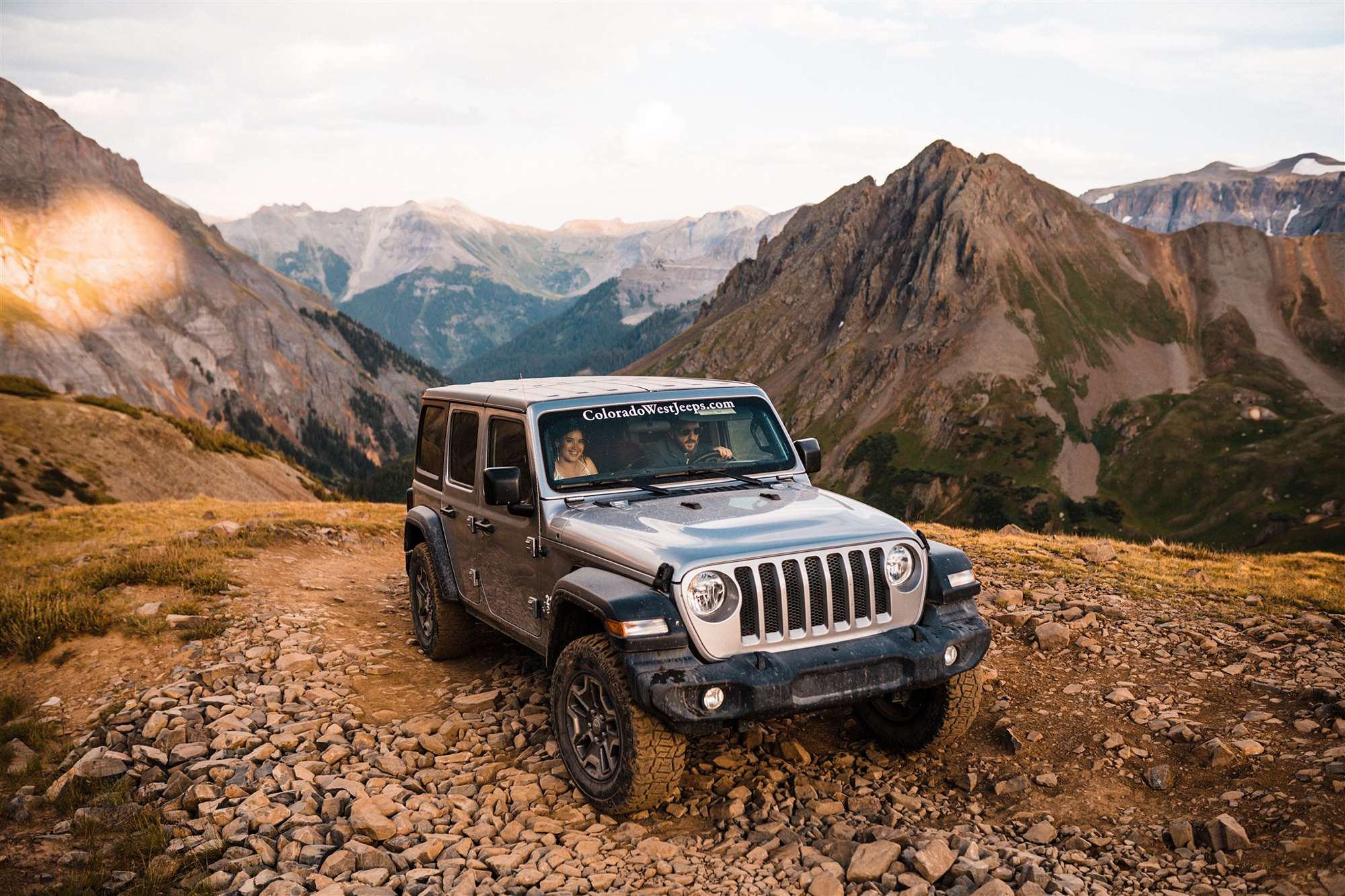 Telluride Elopement couple driving a jeep in the mountains