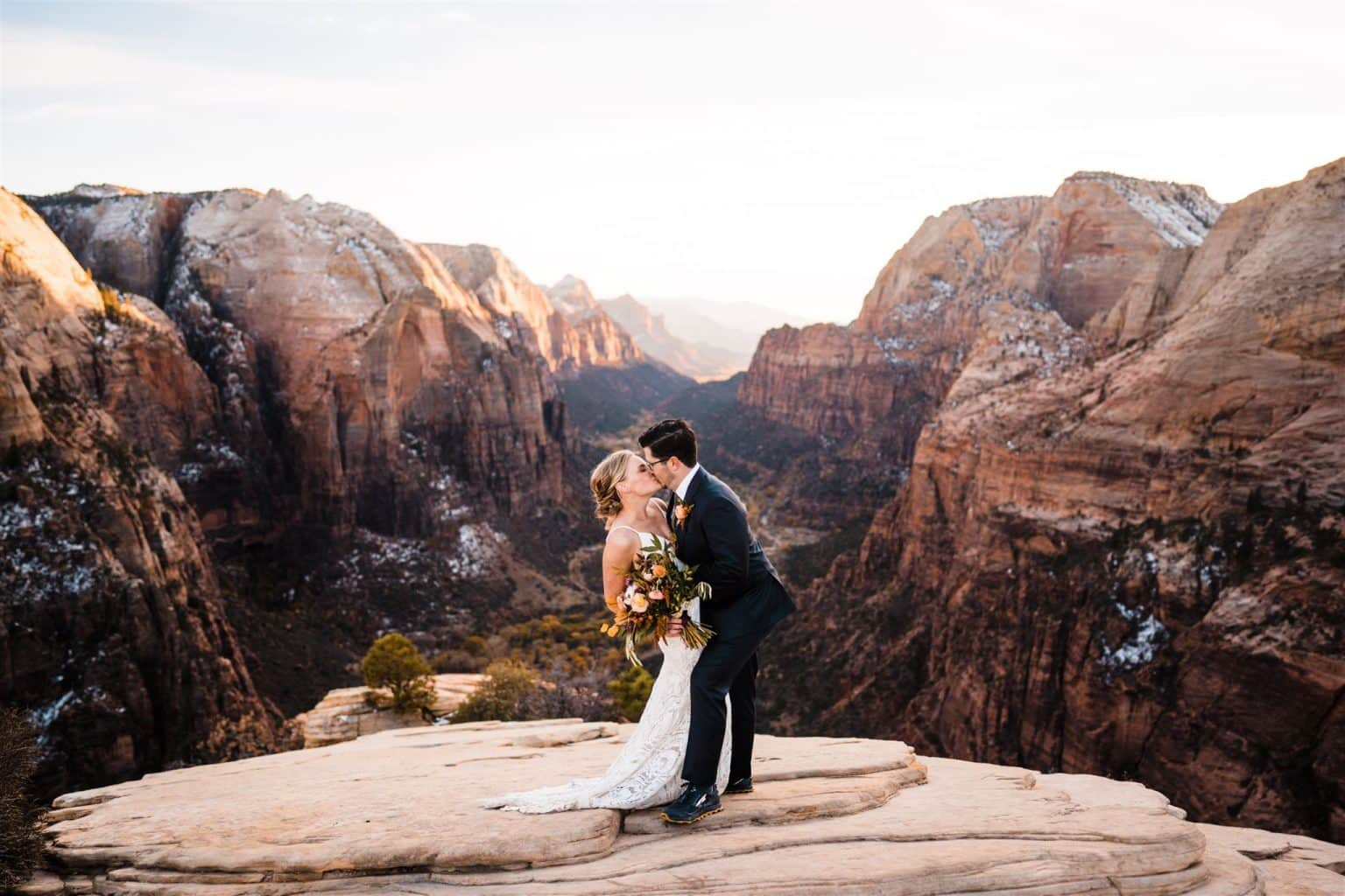 elopement couple kissing in zion national park