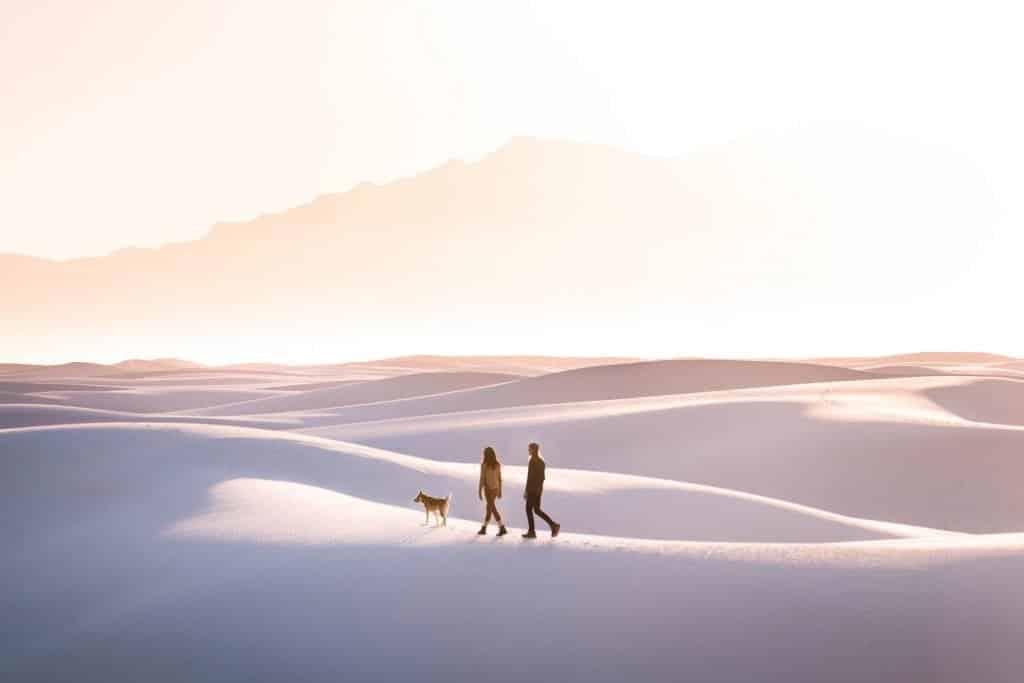 couple walking with dog at sunset on sand dunes