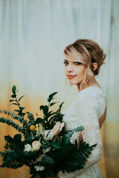 bride portrait at withinsodo seattle diy wedding custom backdrop
