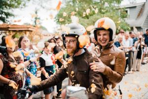 Portland home garden wedding motorcycle getaway